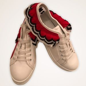 MSGM Leather Knit Trim Sneakers